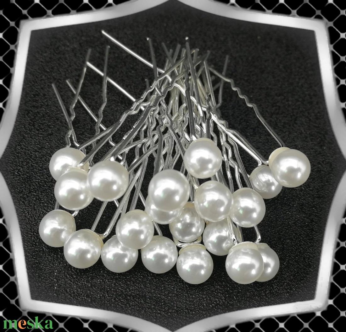 Ékszerek-hajdíszek, hajcsatok: Esküvői, menyasszonyi, alkalmi hajdísz ES-H-TŰ02-8 fehér 20db/csomag - esküvő - hajdísz - kontydísz & hajdísz - Meska.hu