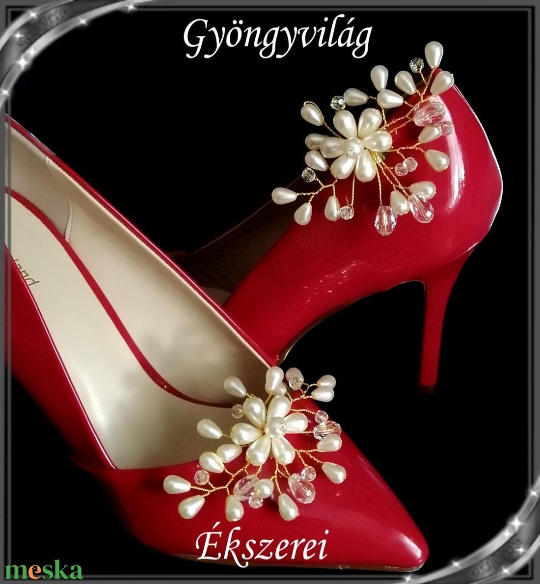 Esküvői, menyasszonyi, alkalmi cipődísz, cipőklipsz S-CK02-2 cream - esküvő - cipő és cipőklipsz - Meska.hu