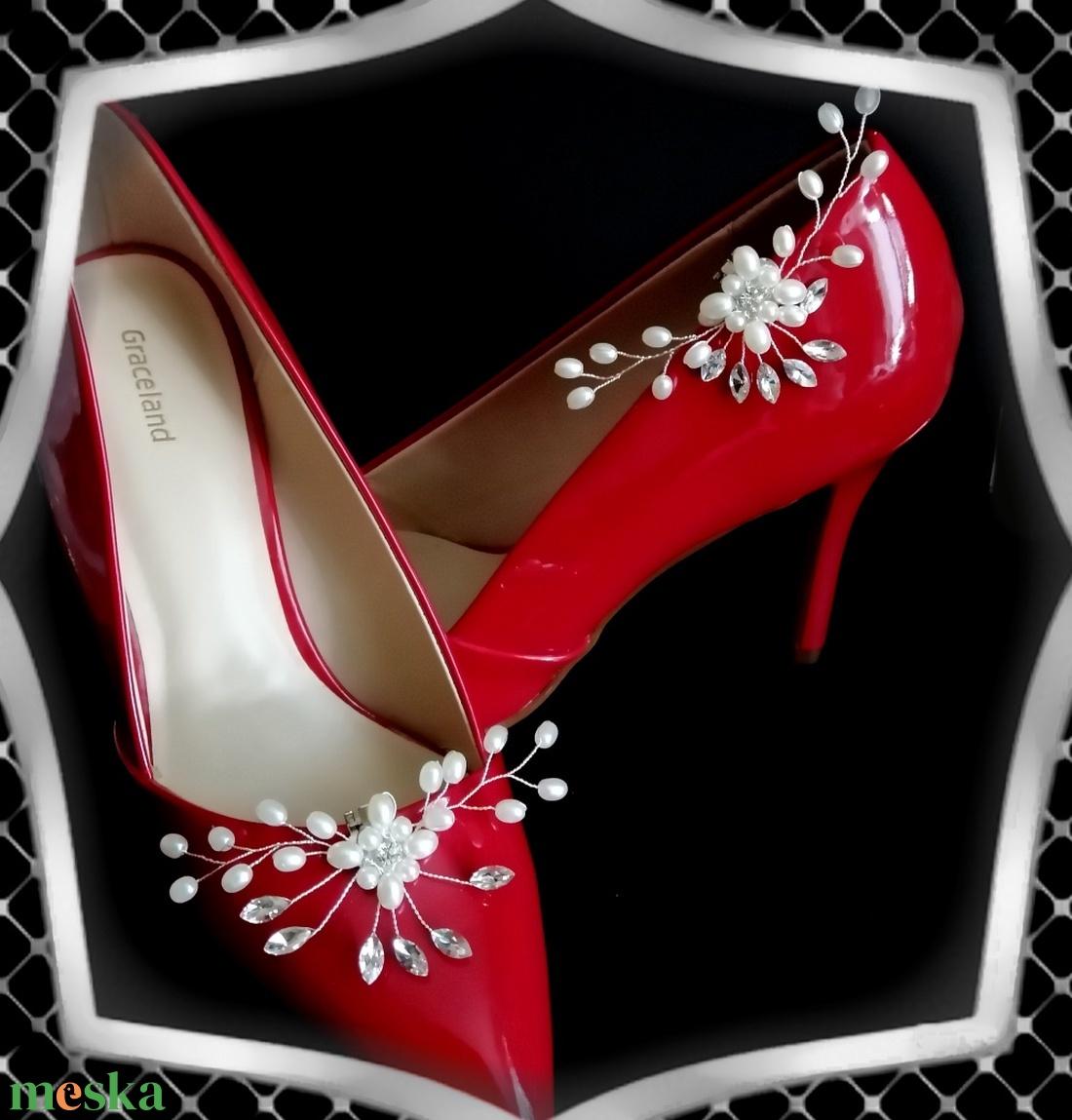 Esküvői, menyasszonyi, alkalmi cipődísz, cipőklipsz ES-CK23 - esküvő - cipő és cipőklipsz - Meska.hu
