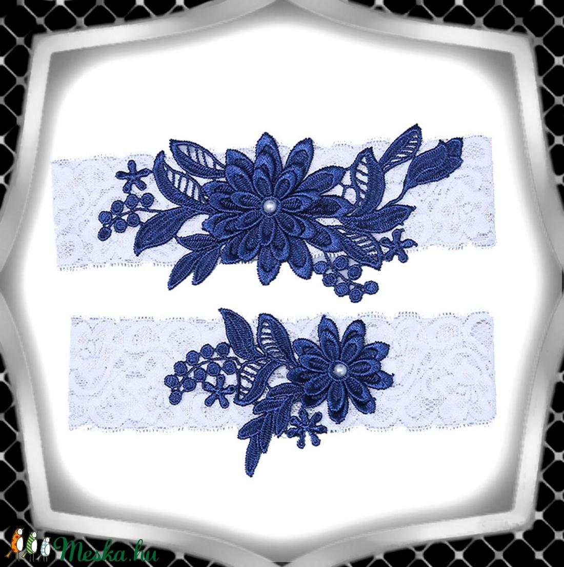 Esküvői, menyasszonyi harisnyakötő szett  ES-HK01-5 - esküvő - kiegészítők - harisnyatartó & valami kék - Meska.hu