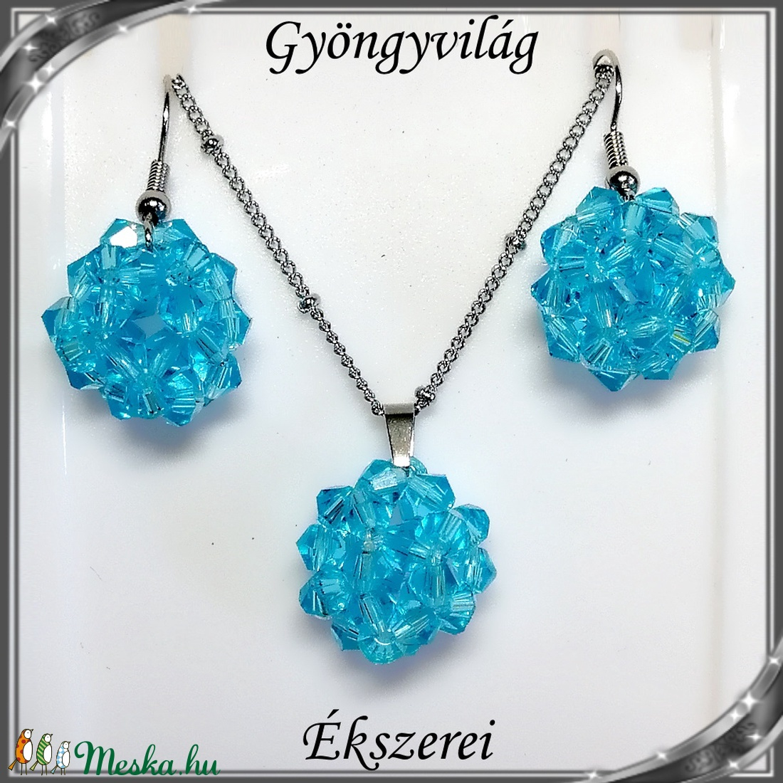 Ékszerek-szettek: kristály ékszer szett SSZNA-KGY01-07 aquamarin - ékszer - ékszerszett - Meska.hu