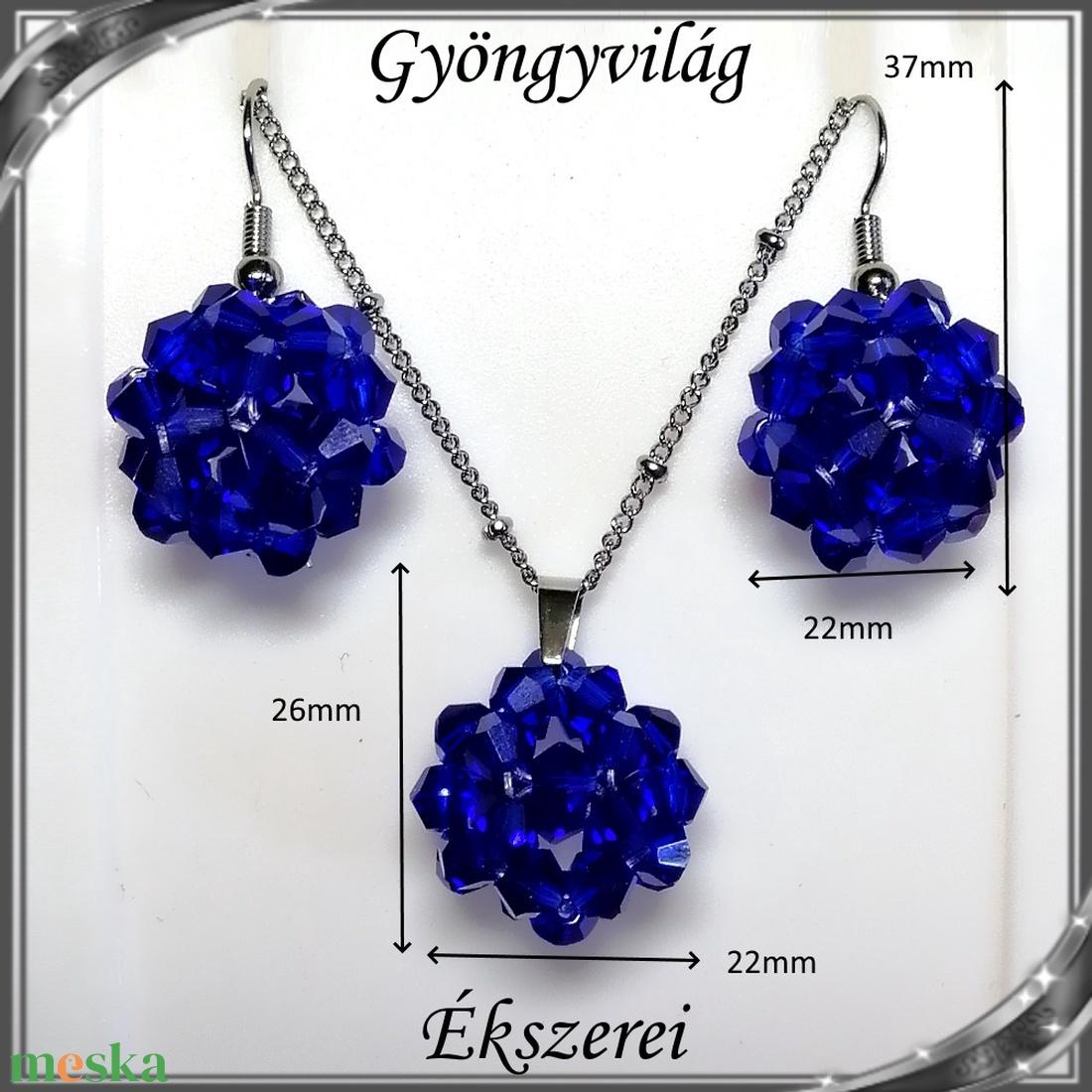 Ékszerek-szettek: kristály ékszer szett SSZNA-KGY01-09 dark blue - ékszer - ékszerszett - Meska.hu