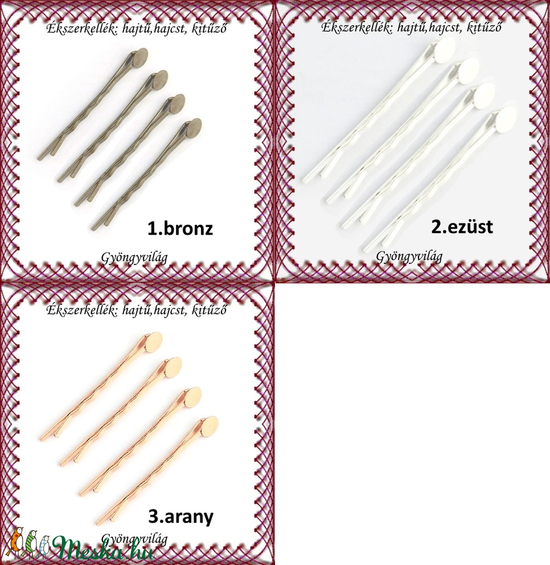 Ékszerkellék: hajtű, hajcsat, kitűző BEK H05-6rg  5db/ cs - gyöngy, ékszerkellék - üveggyöngy - Meska.hu