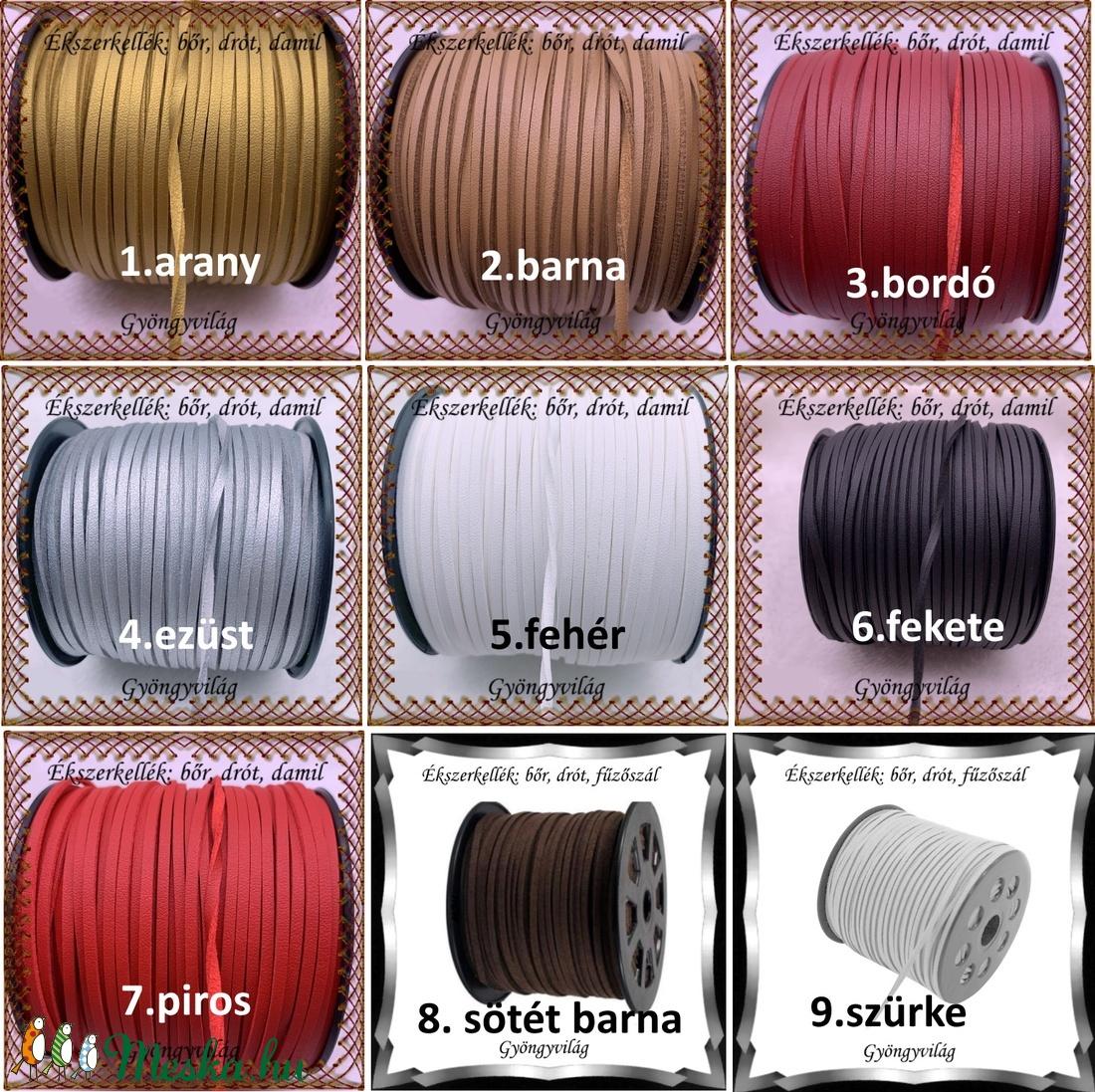 Ékszerkellék:hasított valódi bőr szál FSZ01-3 több színben - gyöngy, ékszerkellék - egyéb alkatrész - Meska.hu