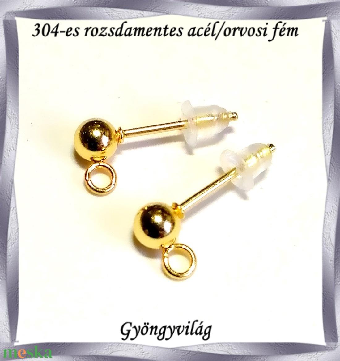 Nemes acél ékszerkellék: fülbevaló alap NAFK 05-1-4g 1pár/cs - gyöngy, ékszerkellék - egyéb alkatrész - Meska.hu