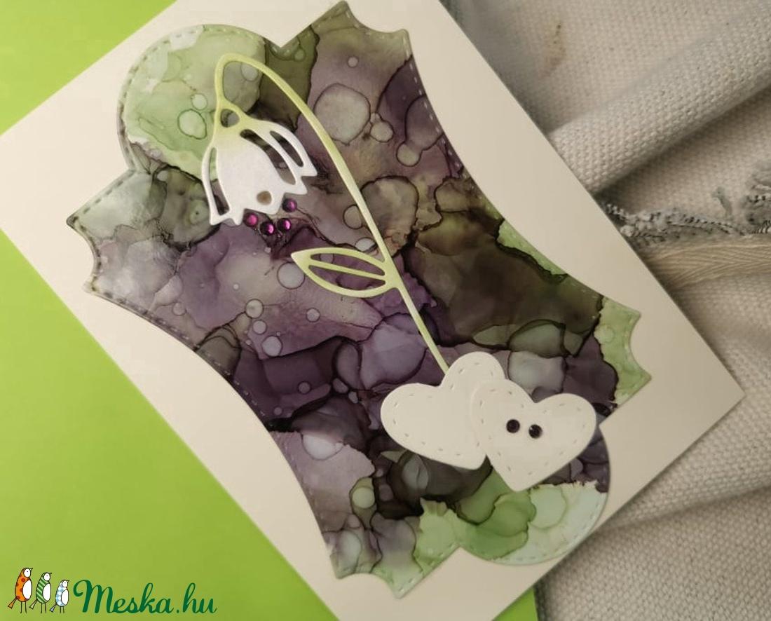 Egyedi festett hátteres strasszos virág képeslap névnapra, anyák napjára, szülinapra : HMB2104_004 - otthon & lakás - papír írószer - képeslap & levélpapír - Meska.hu