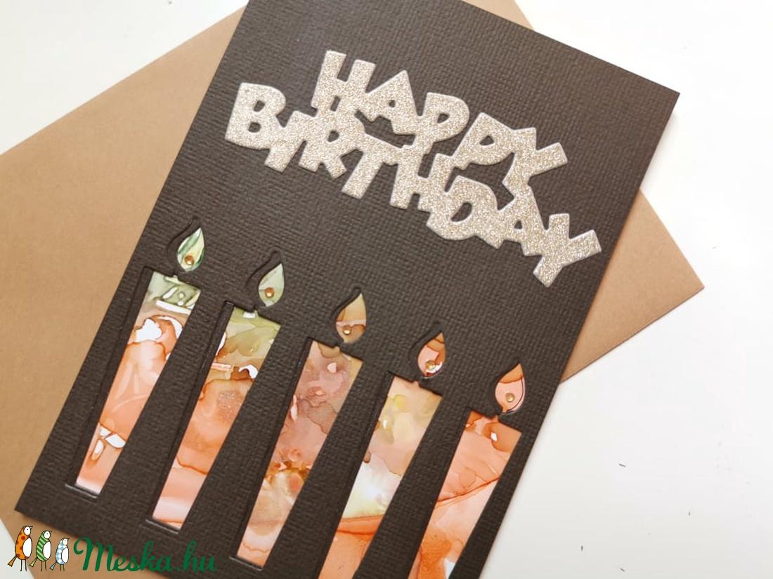 Szülinapi gyertyák - kézzel festett hátteres képeslap, üdvözlőlap, ajándékkísérő : HMB2108_07 - otthon & lakás - papír írószer - képeslap & levélpapír - Meska.hu