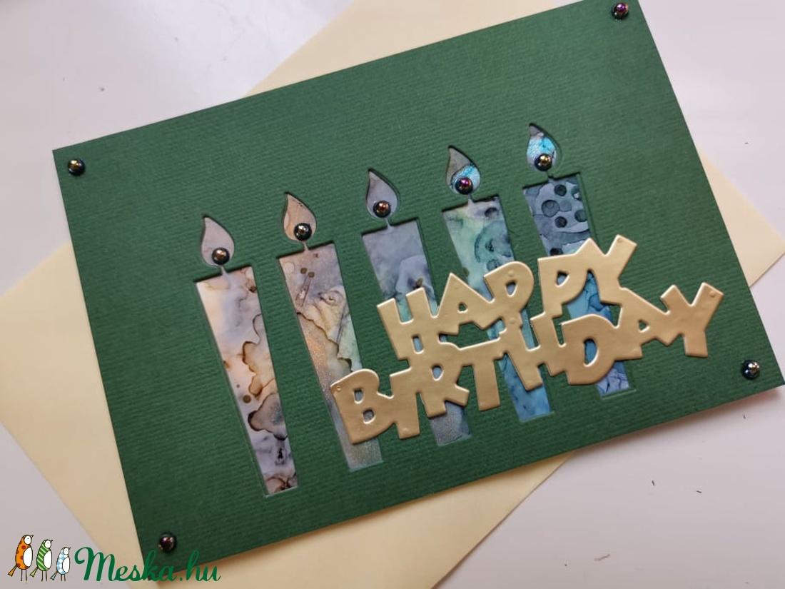 Szülinapi gyertyák - kézzel festett hátteres képeslap, üdvözlőlap, ajándékkísérő : HMB2108_09 - otthon & lakás - papír írószer - képeslap & levélpapír - Meska.hu