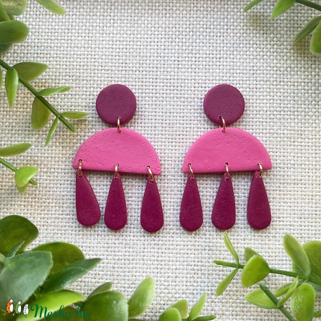 DÉNA málna rózsaszín színű gyurma fülbevaló - ékszer - fülbevaló - lógó fülbevaló - Meska.hu