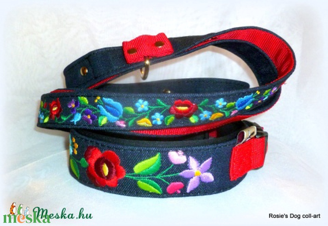 353867b4b6 KALOCSAI mintás Rosie\\\'s Dog coll-art nyakörv pórázzal (Hangyo ...
