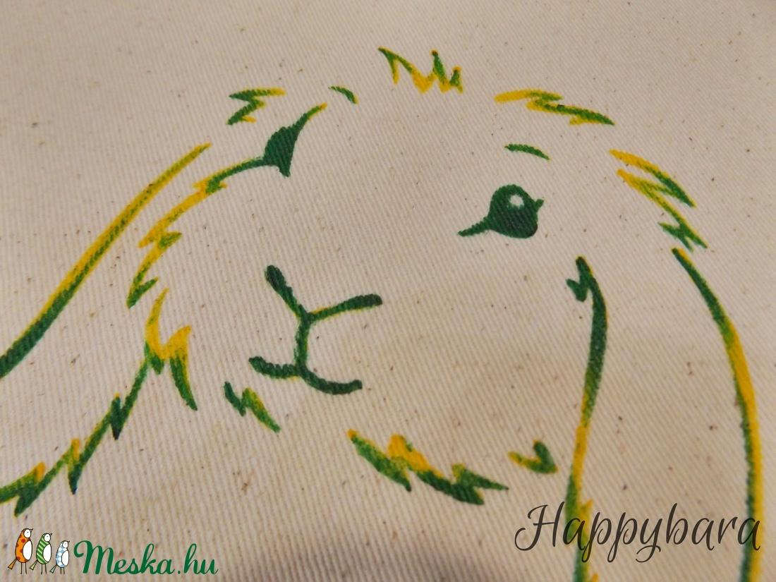 Zöld-sárga cirmos mintájú NYUSZIS szövettáska, erős farmerszerű natúr vászonból.  - táska & tok - bevásárlás & shopper táska - shopper, textiltáska, szatyor - Meska.hu