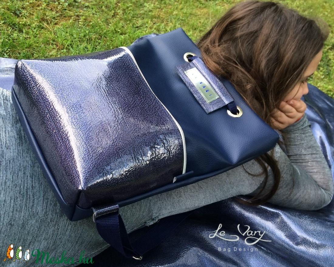 Tekla hátizsák backpack sötétkék-lakkbőr zsebbel (hegymegigabi) - Meska.hu bd36519906