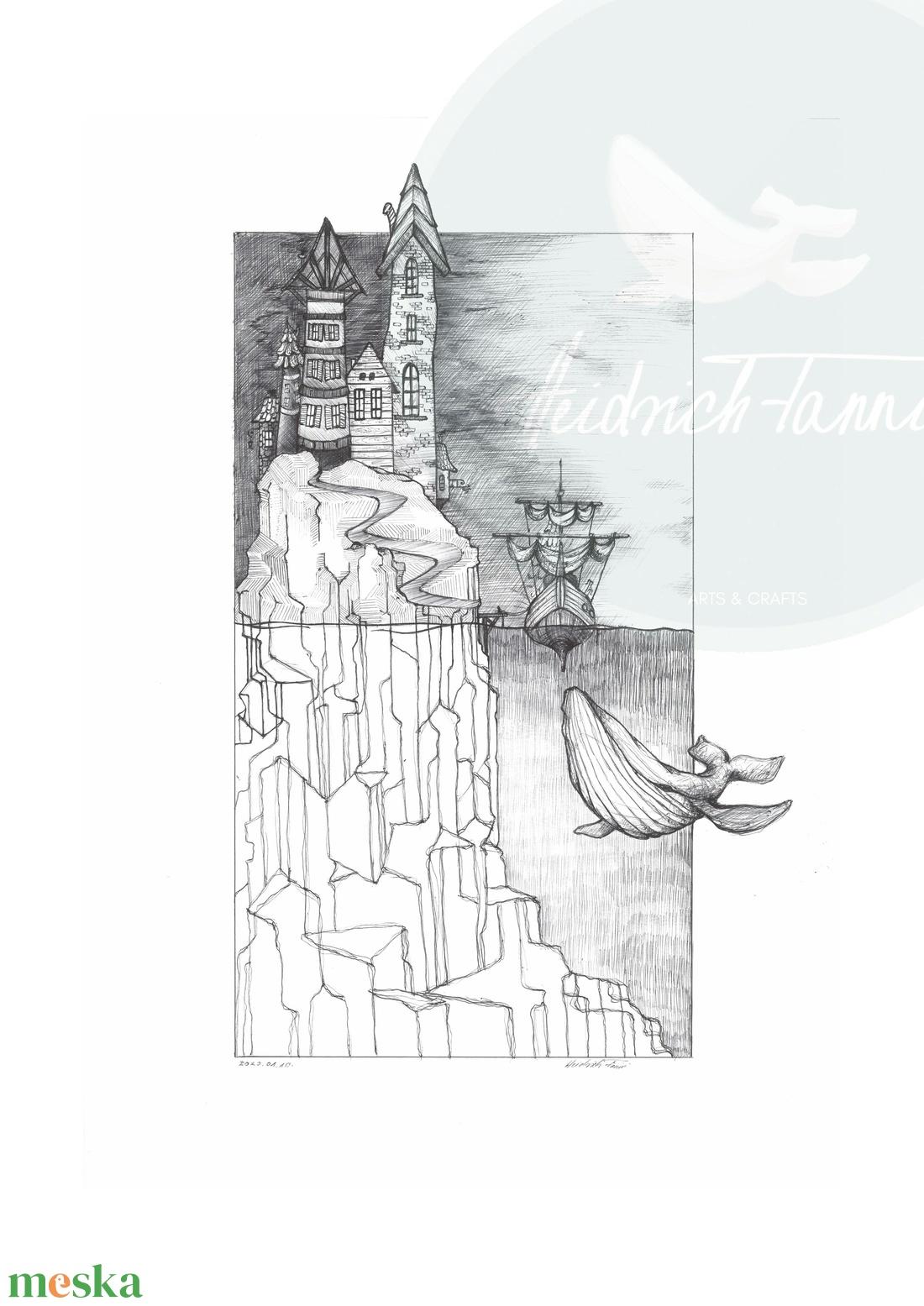 Bálna II. Print - művészet - grafika & illusztráció - Meska.hu