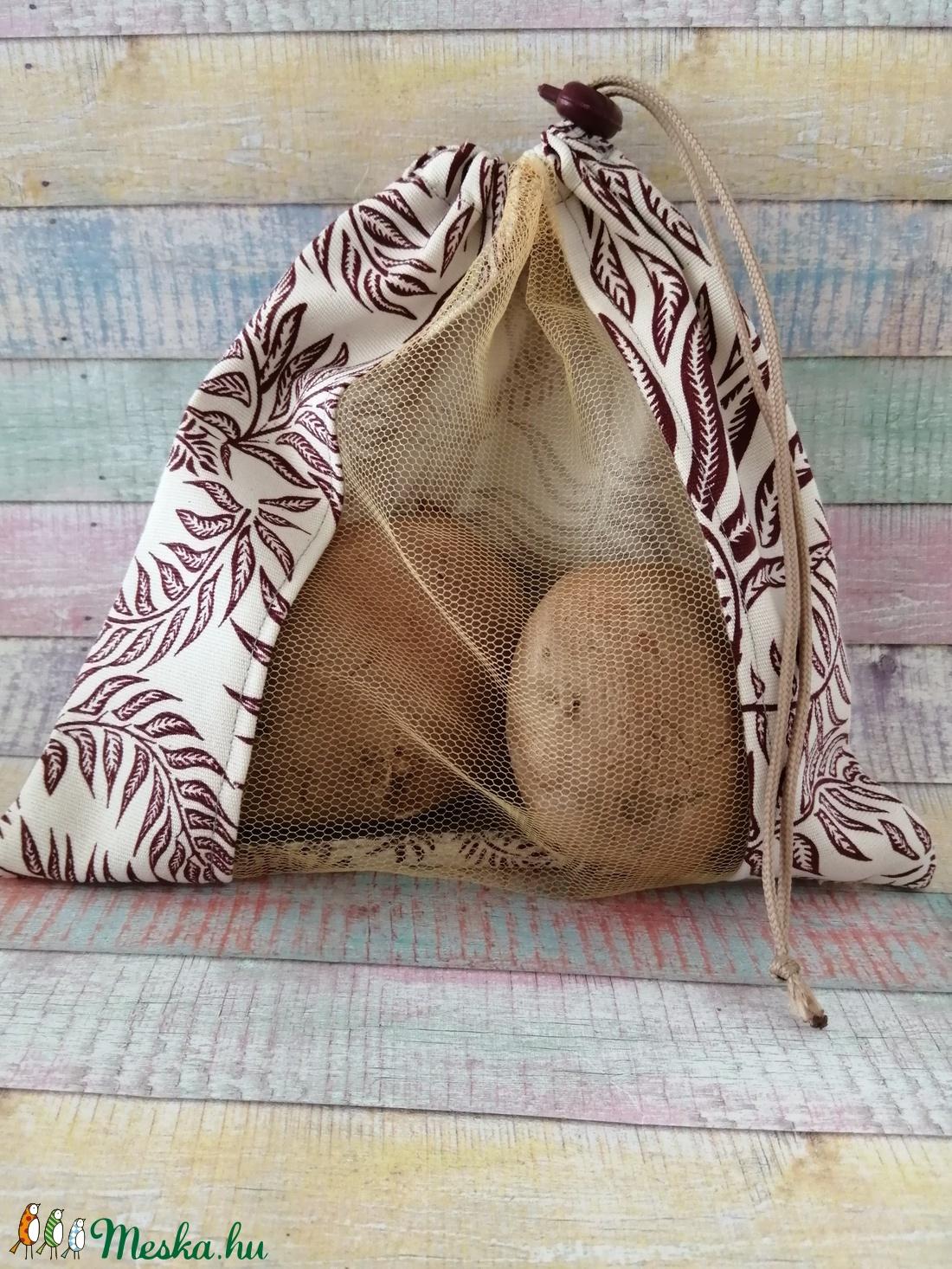 Bordó levél mintás textil zsák/ öko zacskó  - táska & tok - bevásárlás & shopper táska - zöldség/gyümölcs zsák - Meska.hu