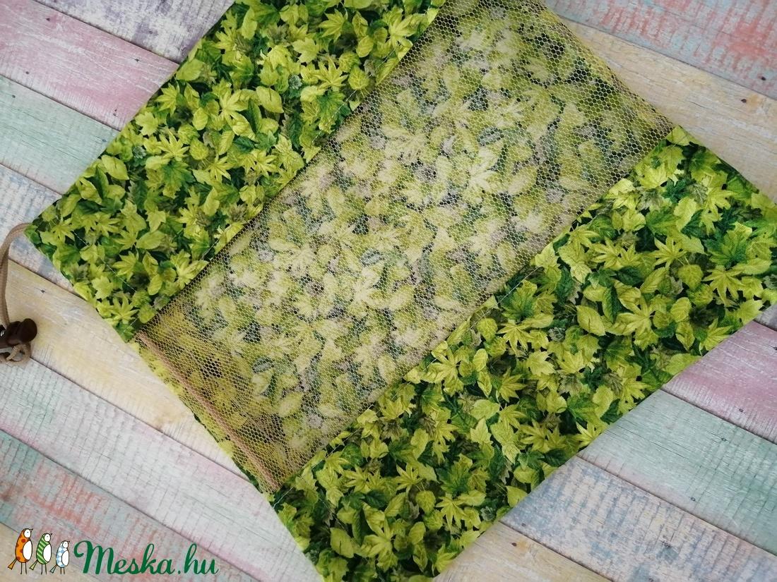 Levél mintás textil zsák/ öko zacskó  - táska & tok - bevásárlás & shopper táska - zöldség/gyümölcs zsák - Meska.hu