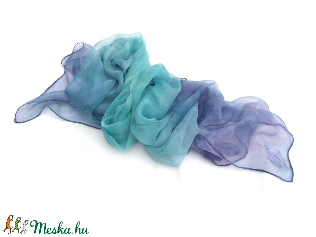 Türkiz és indigó ombré festésű hernyóselyem sál - ruha & divat - sál, sapka, kendő - sál - Meska.hu