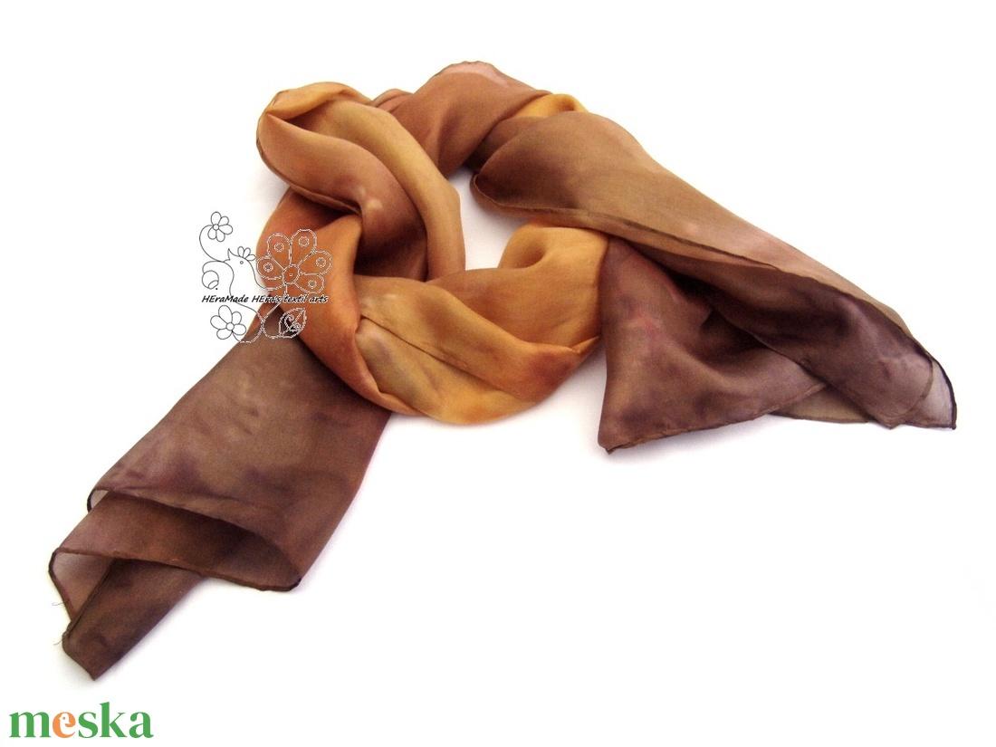 Karamell és nugát hernyóselyem sál  - ruha & divat - sál, sapka, kendő - sál - Meska.hu