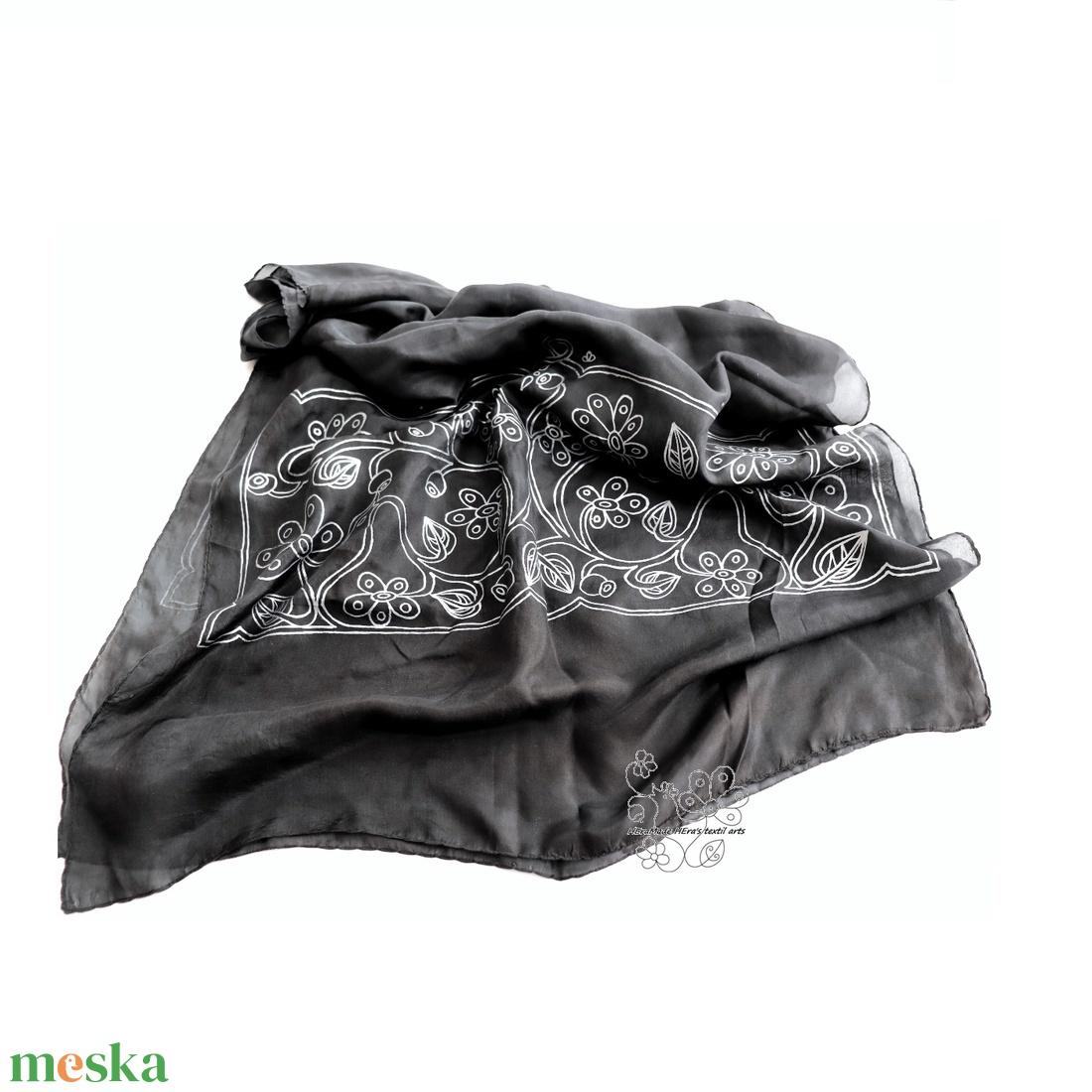 Madárdal hernyóselyem stóla, egyedi női sál - ruha & divat - sál, sapka, kendő - stóla - Meska.hu