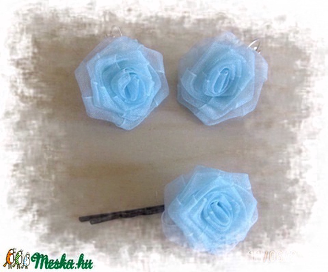 Igazán nőcis, lila rózsa fülbevaló, füli és csat szett (herta) - Meska.hu