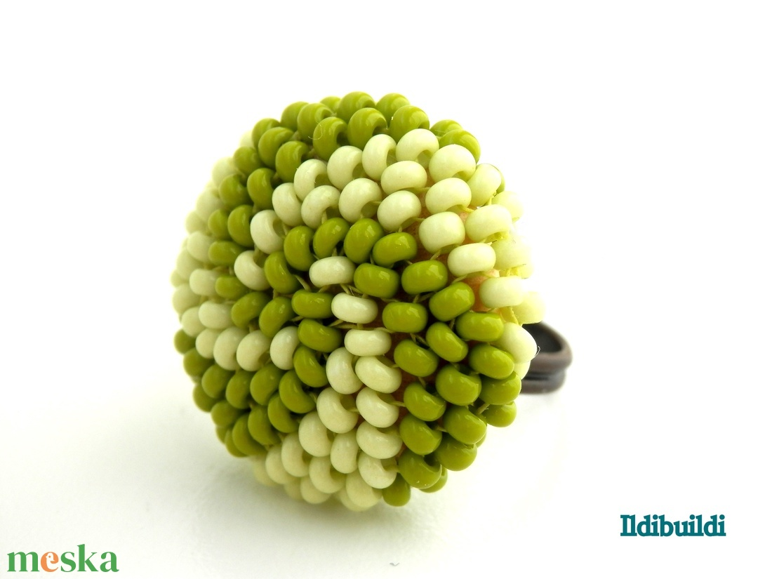 Spirálos 2 színű kerek gyűrű khaki- és almazöld - ékszer - gyűrű - kerek gyűrű - Meska.hu