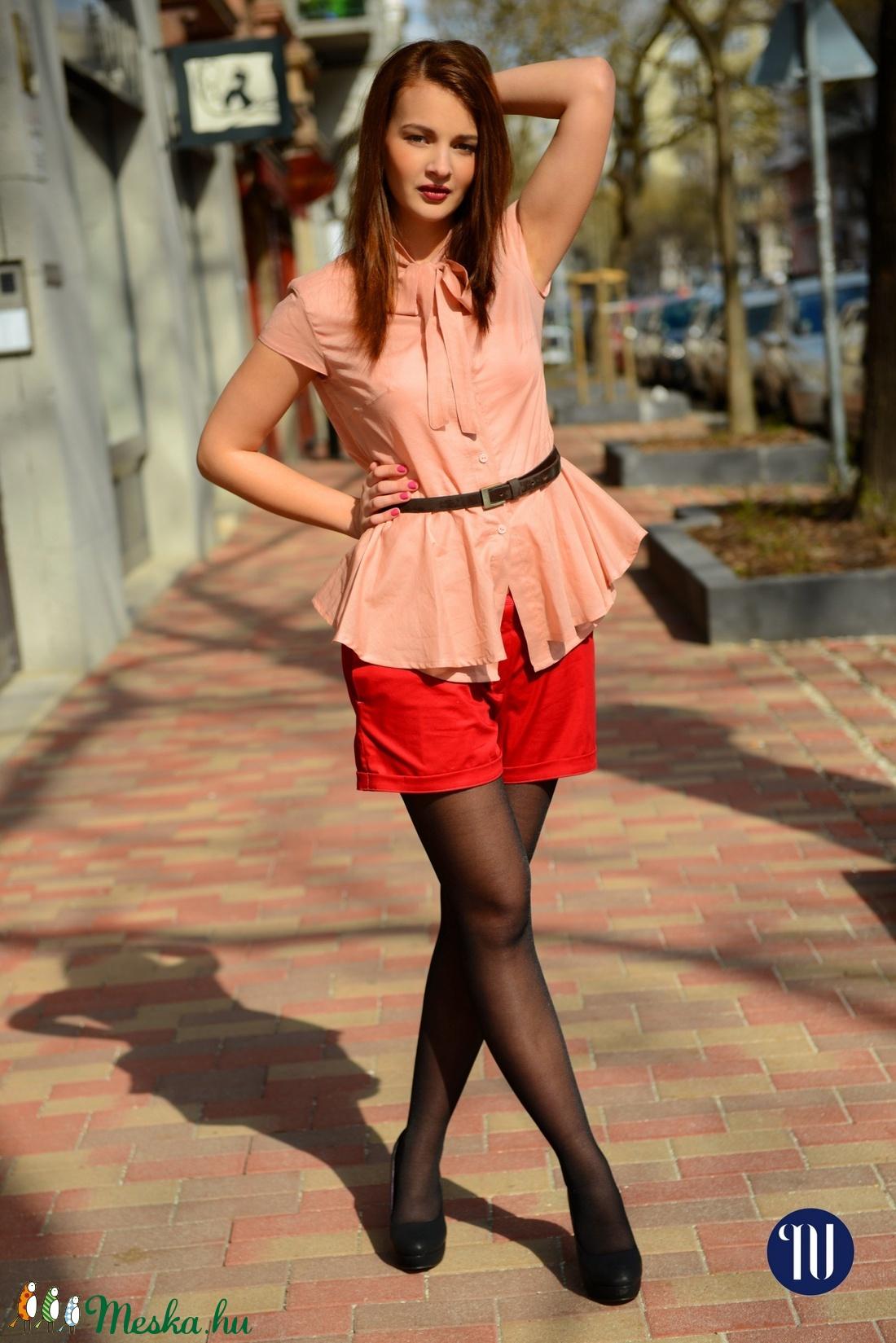 Sálgalléros blúz lazac színű - ruha & divat - női ruha - blúz - Meska.hu