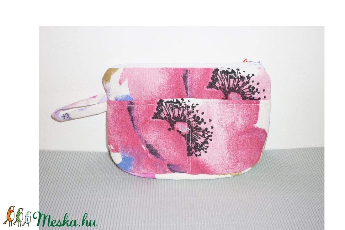 Rózsaszín virágos neszesszer vagy tolltartó - táska & tok - neszesszer - Meska.hu