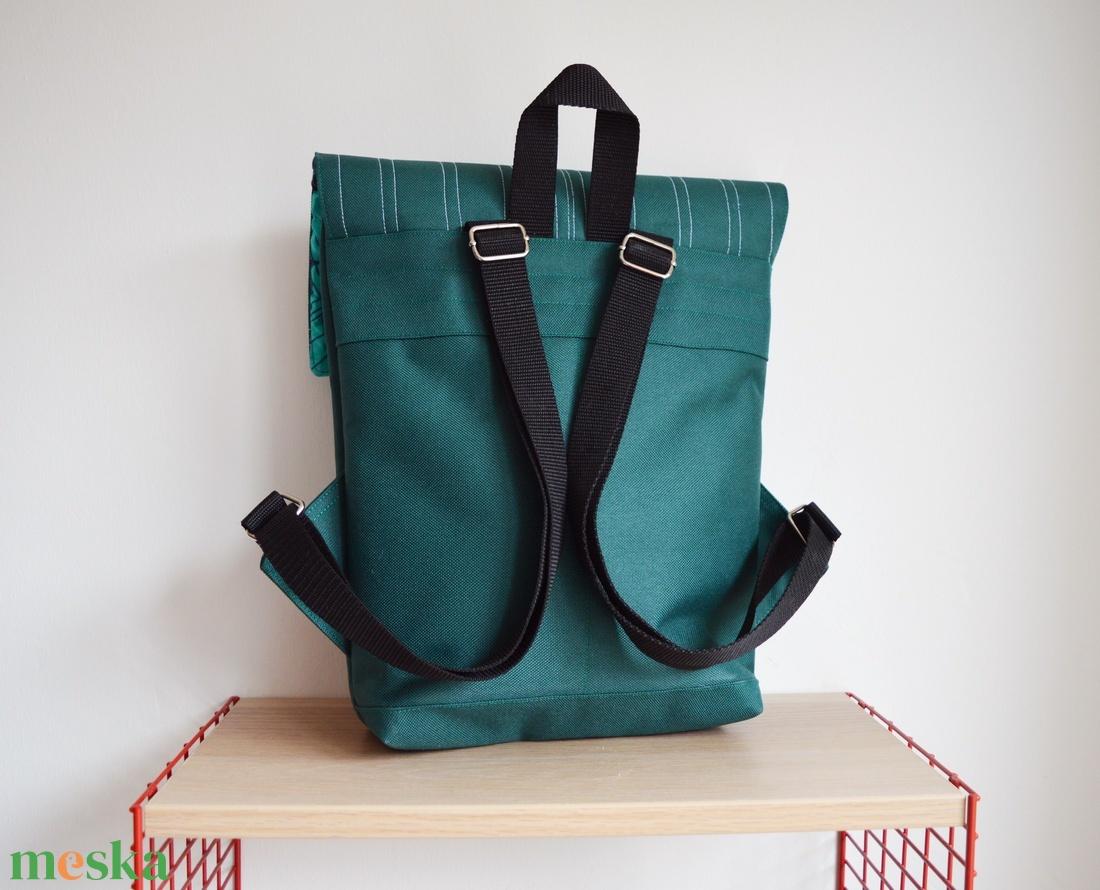 Smaragd zöld vízlepergető kicsi hátizsák épület mintával - ovi- és sulikezdés - iskolatáska - Meska.hu