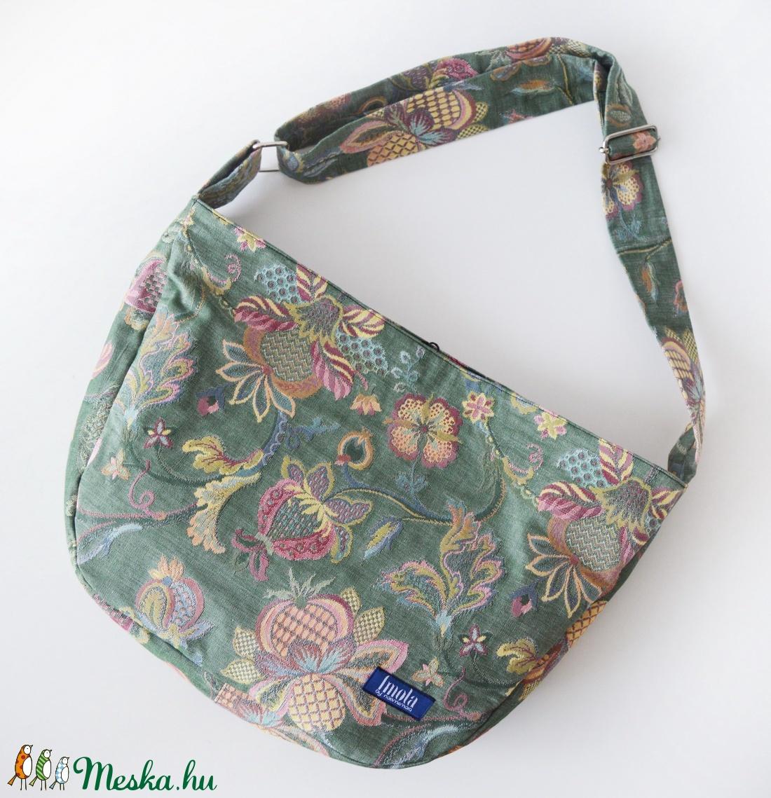 Válltáska / Oldaltáska / Biciklis táska pasztell zöld virágos - táska & tok - kézitáska & válltáska - vállon átvethető táska - Meska.hu