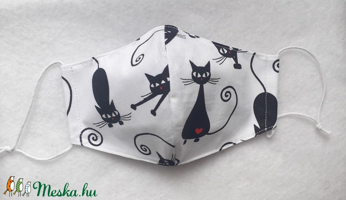 Fekete cicás textil maszk  - Meska.hu