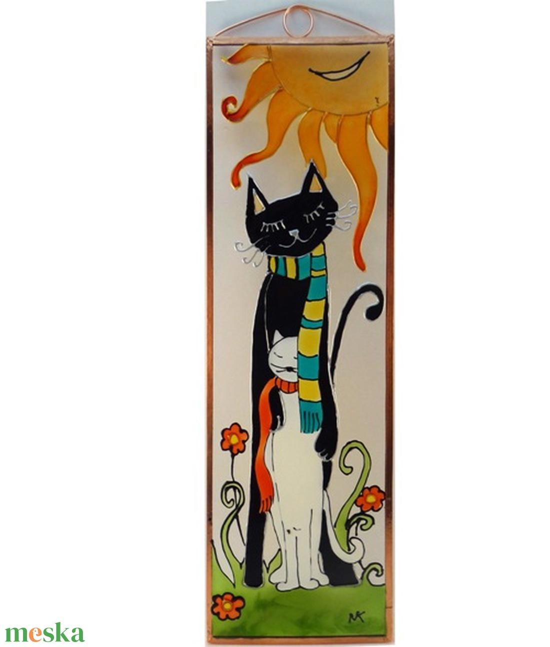 Anya macska kicsijével - Üvegkép - otthon & lakás - dekoráció - kép & falikép - Meska.hu