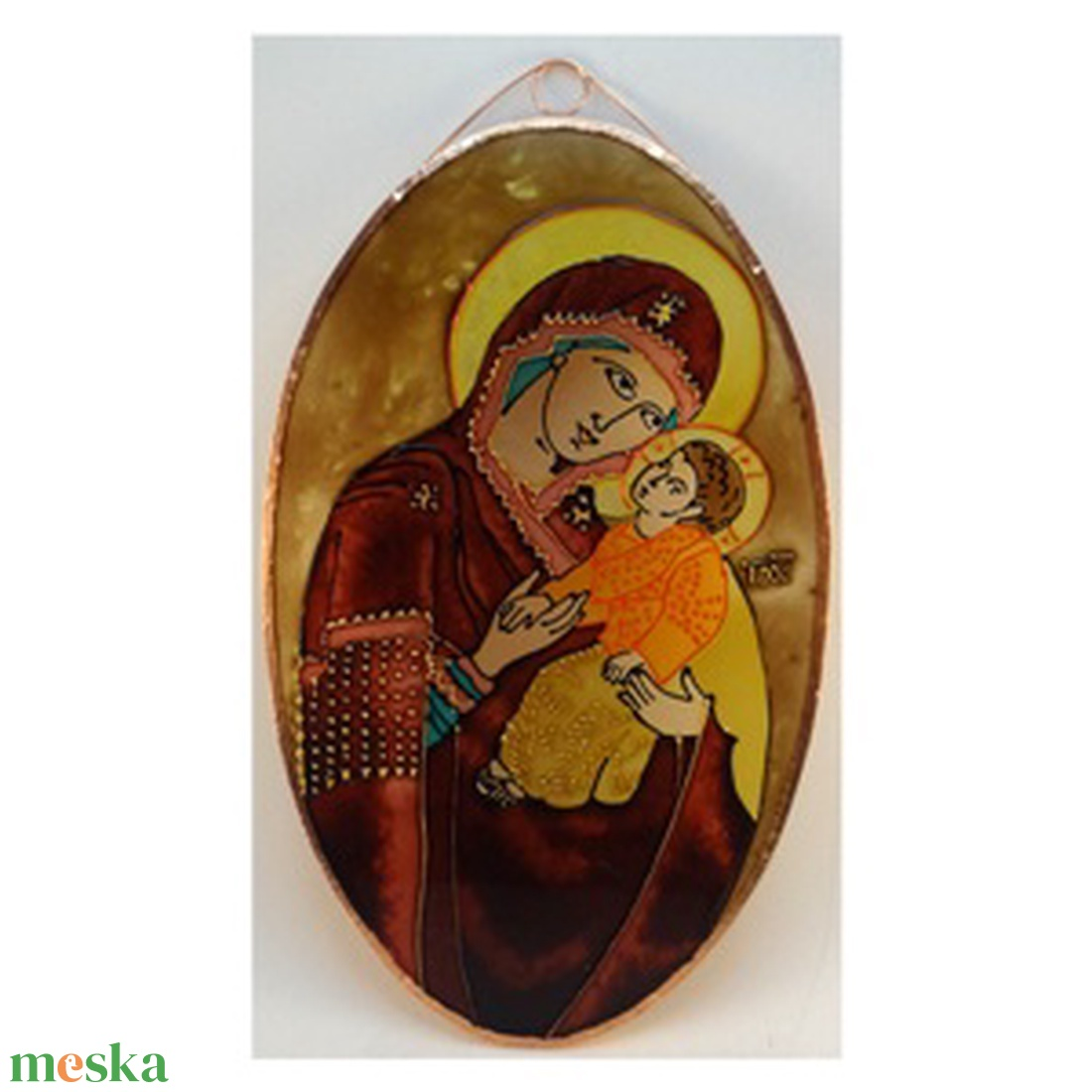 Mária gyermekével - Üvegkép - otthon & lakás - dekoráció - kép & falikép - Meska.hu
