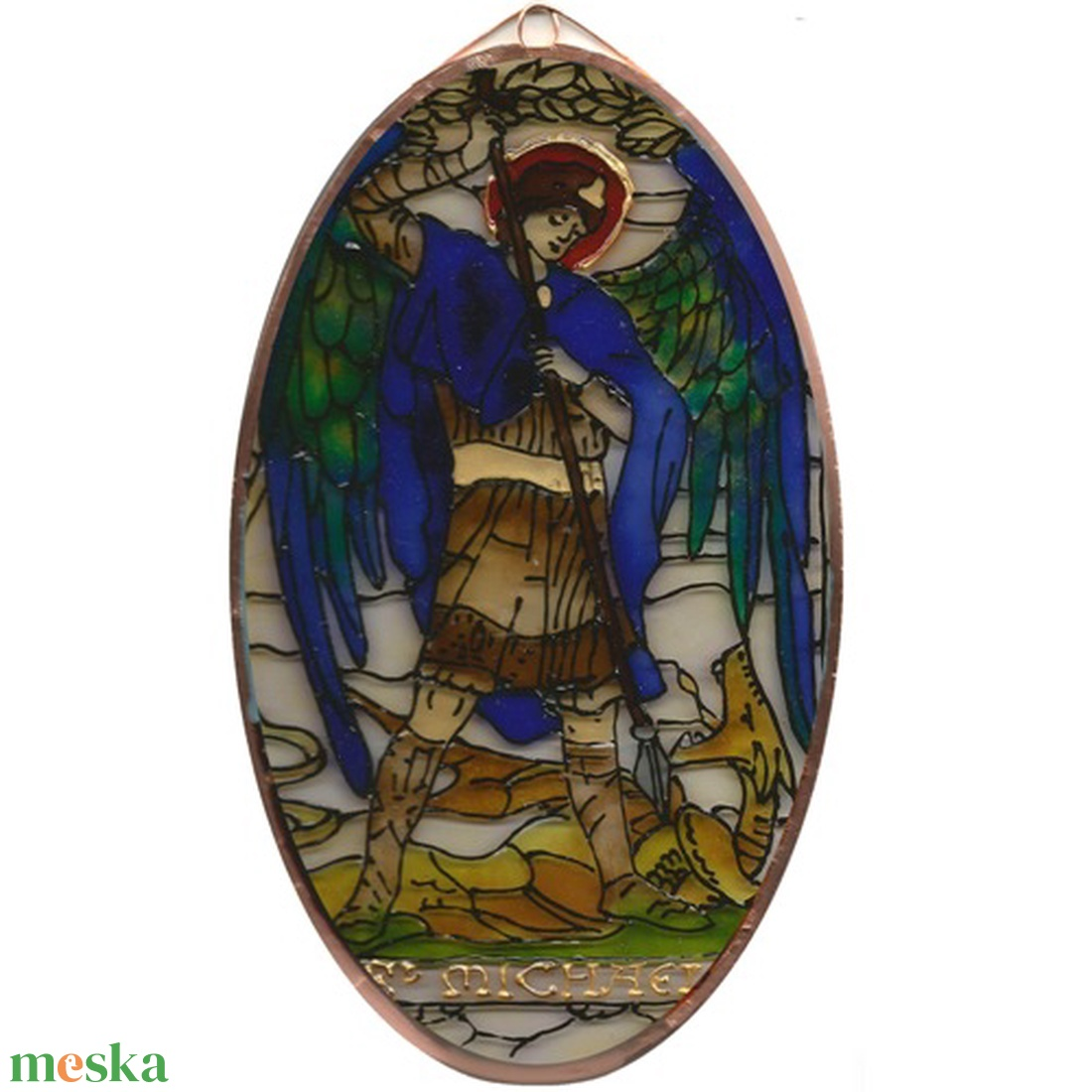 Szent Mihály - Üvegkép - otthon & lakás - dekoráció - kép & falikép - Meska.hu