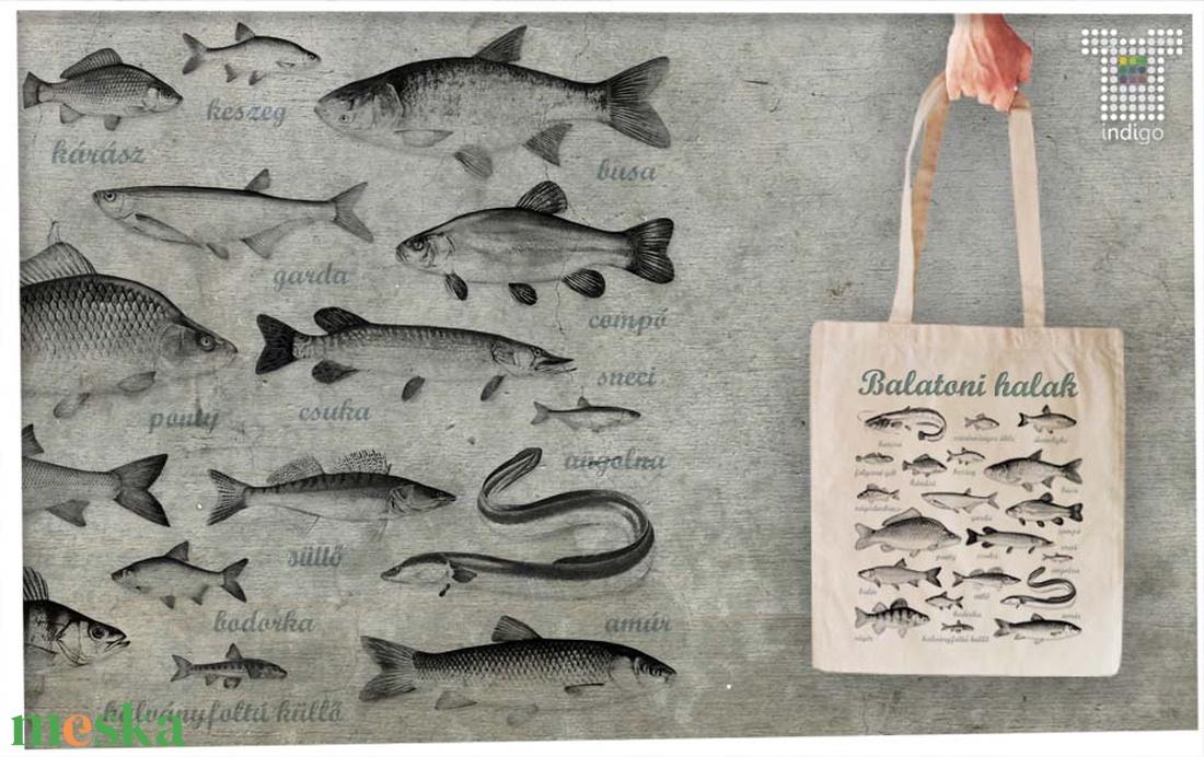 Balatoni halak  textiltáskán - táska & tok - bevásárlás & shopper táska - shopper, textiltáska, szatyor - Meska.hu