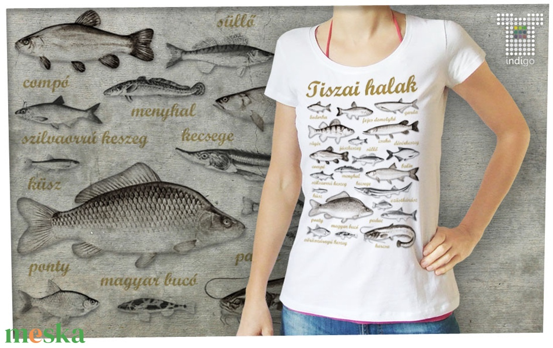 Tiszai halak női Stars pólón (IndigoMuhely) - Meska.hu