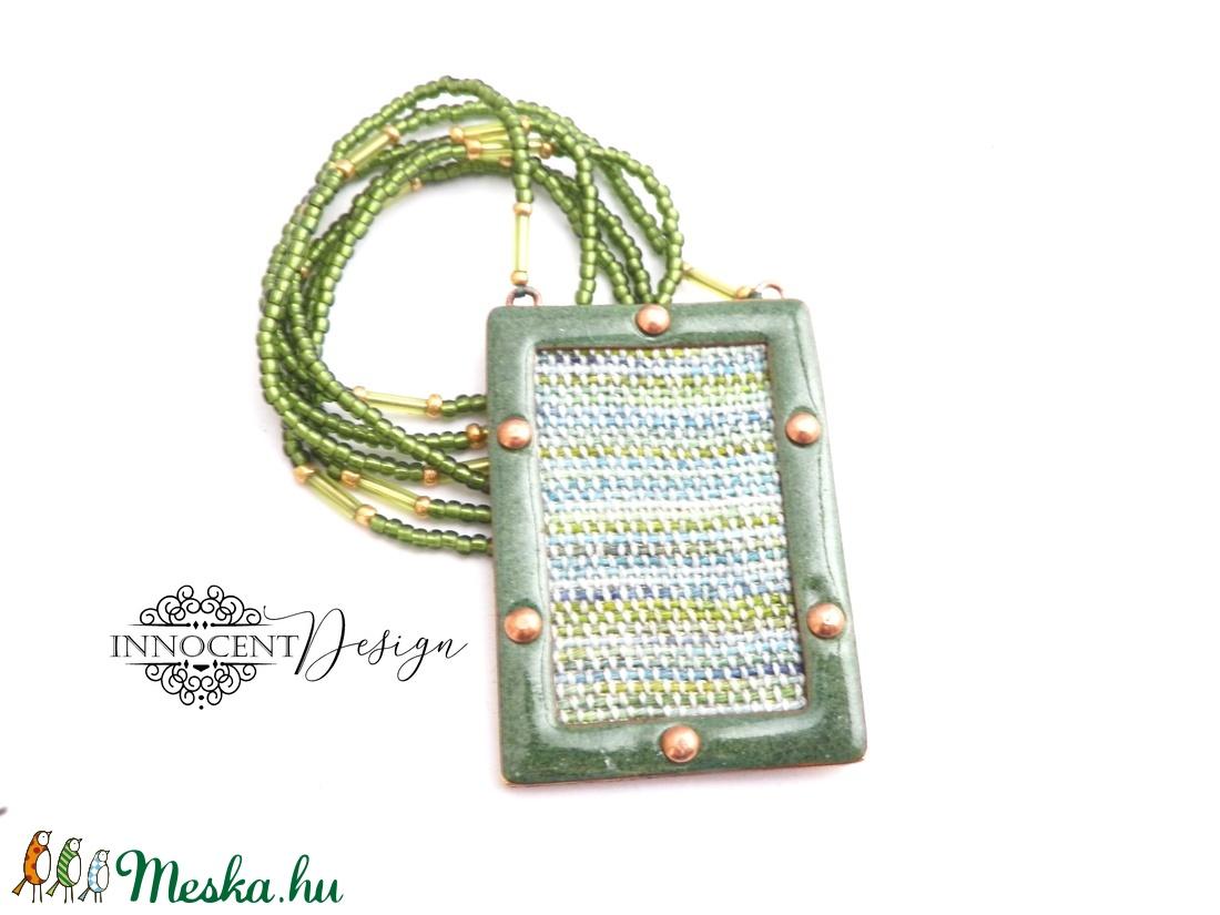 FOLK - tűzzománc nyaklánc (zöld) (InnocentDesign) - Meska.hu