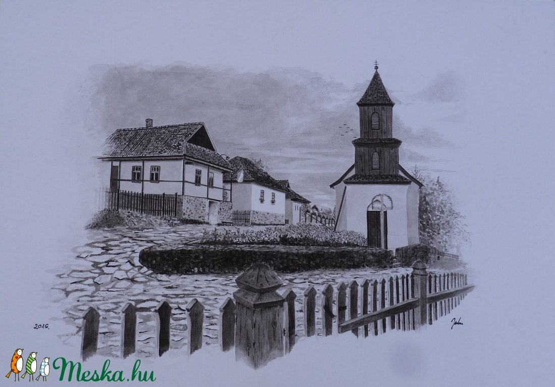 Hollókő tus kép 35x50 cm  (Jabu87) - Meska.hu