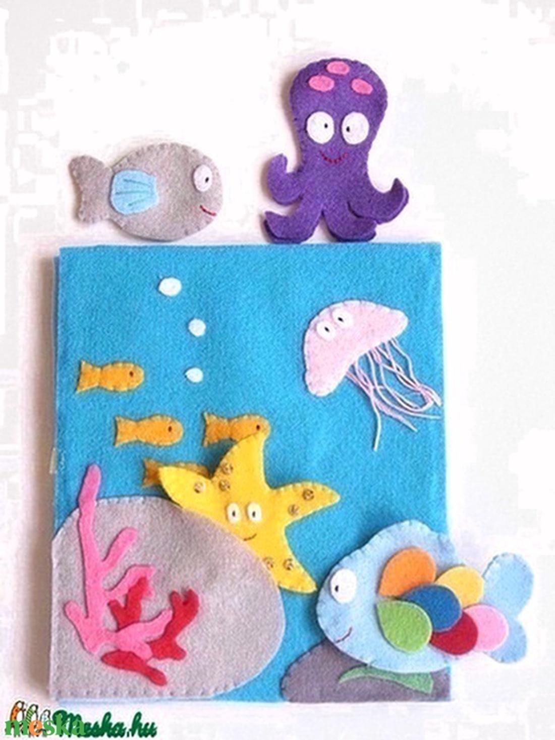Szivárványhalacska- ujjbáb készlet és mini bábszínház (azonnal vihető!) - játék & gyerek - bábok - báb készlet - Meska.hu
