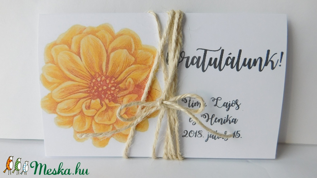 Sunflower - egyedi, modern, amerikai stílusú pénzátadó esküvőre, születésnapra, ballagásra, virágos, zsebes,  (Jbgifts) - Meska.hu