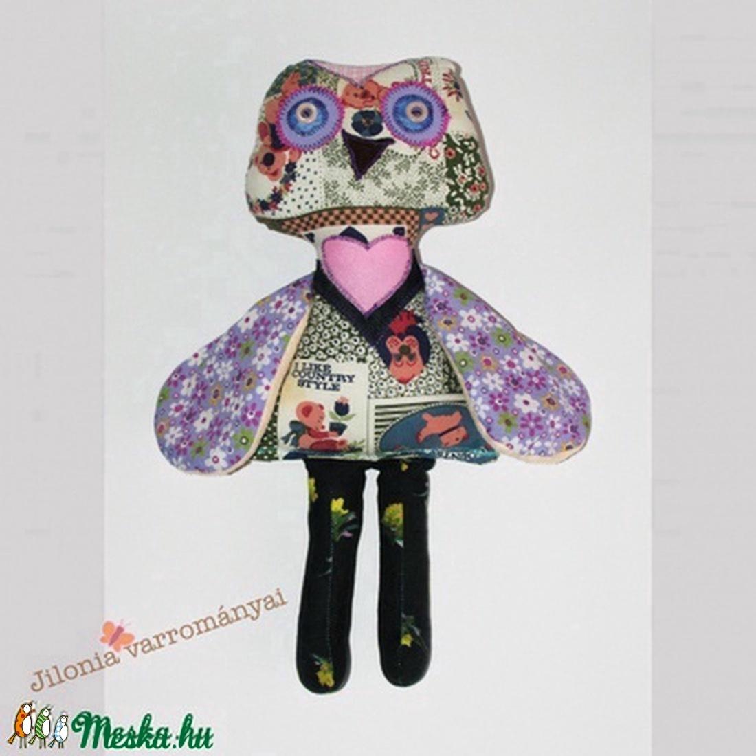 lila mintás bagoly  - játék & gyerek - plüssállat & játékfigura - bagoly - Meska.hu