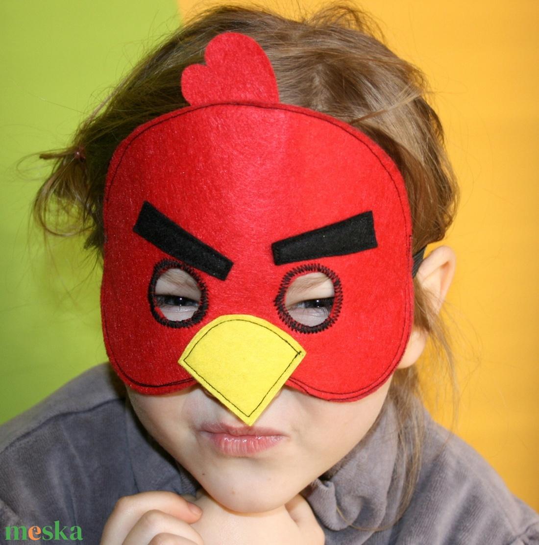 piros angry birds álarc filcből - ruha & divat - jelmez & álarc - álarc - Meska.hu