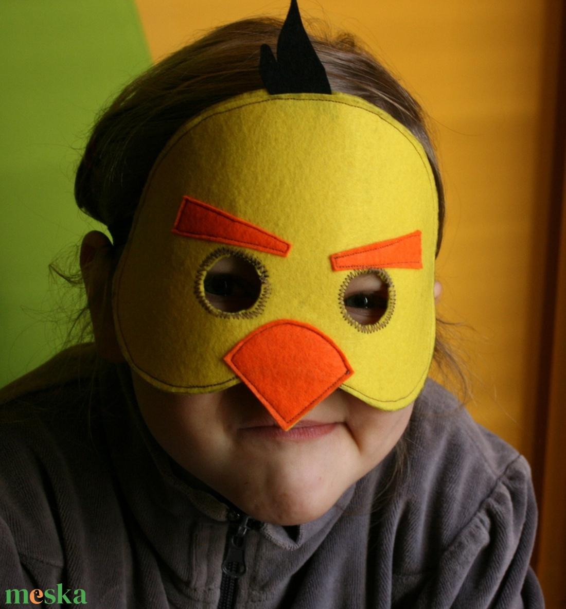sárga angry birds álarc filcből - ruha & divat - jelmez & álarc - álarc - Meska.hu