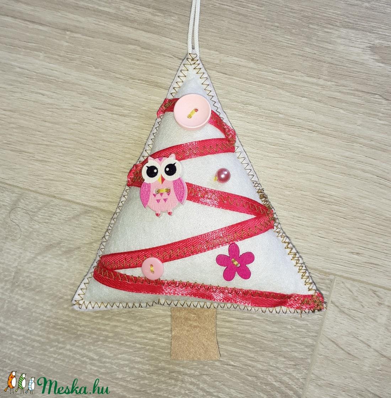 Fehér-rózsaszín karácsonyfadísz filc  - karácsony - Meska.hu