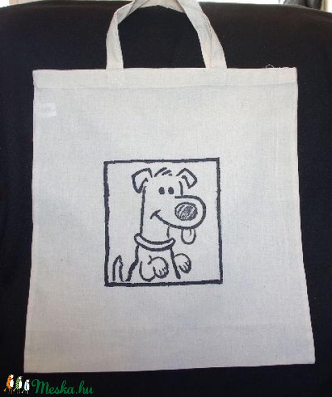 3c2c7f37255a Kutya mintás Kézzel festett egyedi bevásárló táska szatyor lenvászonból