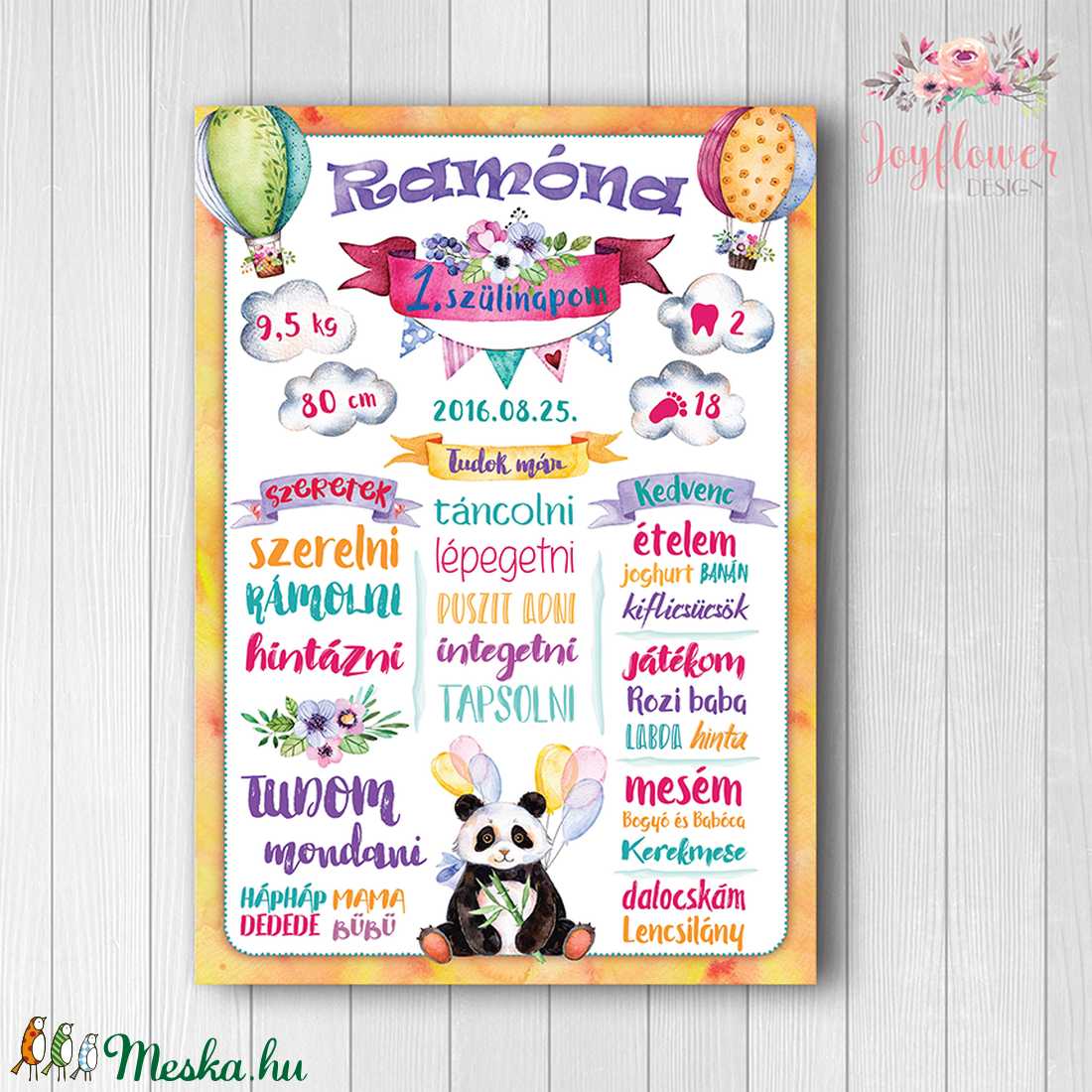 Szülinapi poszter panda macival, kislányos színekben, vízfesték hatású grafikával (joyflowerdesign) - Meska.hu