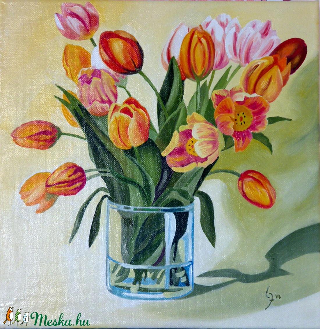 Tulipán csokor- olajfestmény (Judit38) - Meska.hu