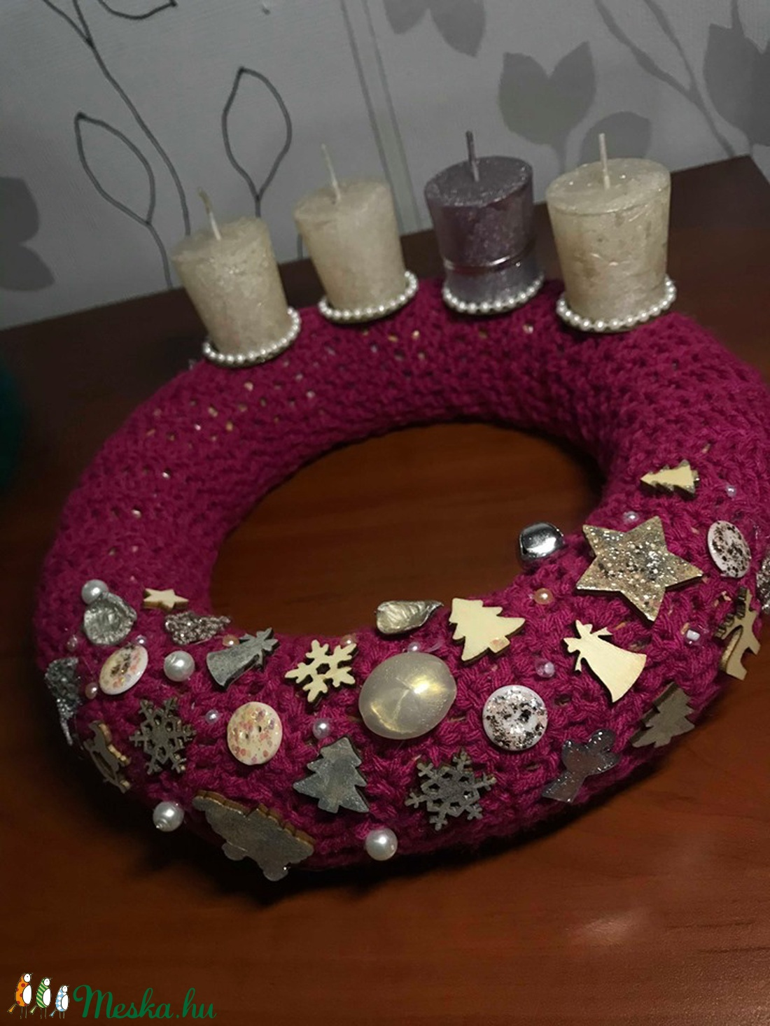 Adventi koszorú pink - karácsony - Meska.hu