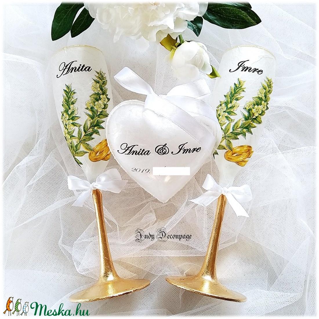 Esküvői pohárpár pénzátadó szívvel (Judydesing) - Meska.hu
