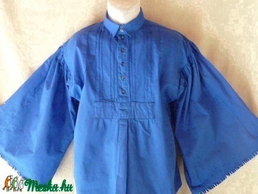 ING népi,csikós bőujjú (borjúszájú) kék S-3XL - ruha & divat - férfi ruha - ing - Meska.hu