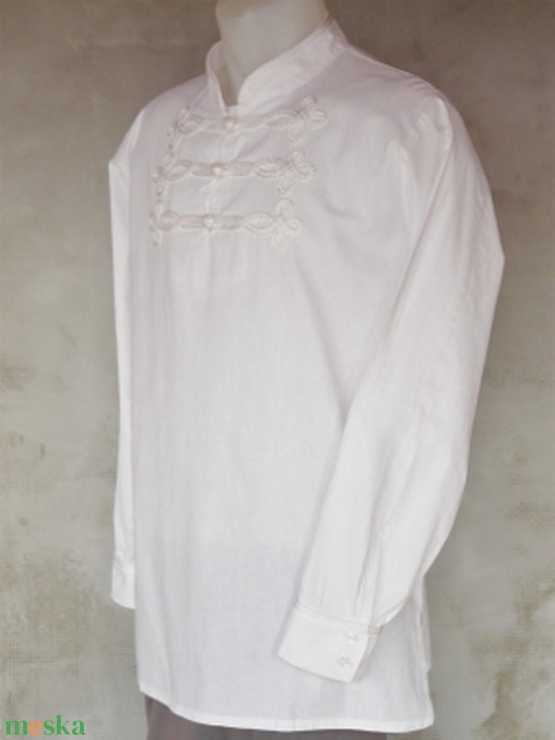 férfi ing ELŐD S-4XL bocskai zsinóros fehér szín - ruha & divat - férfi ruha - ing - Meska.hu