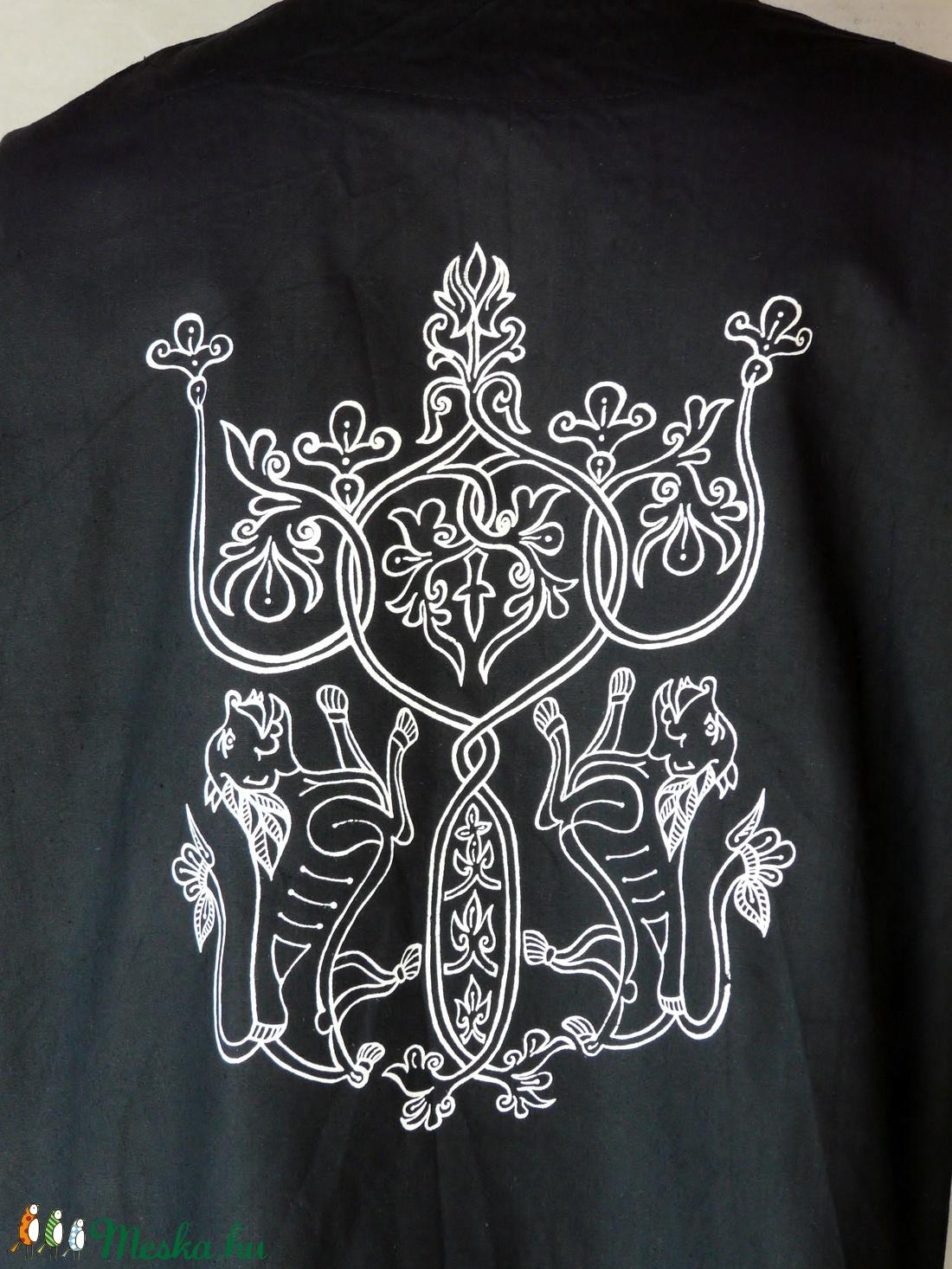 Ing etelközi ornamentikával, fekete szín S-4XL - ruha & divat - férfi ruha - ing - Meska.hu